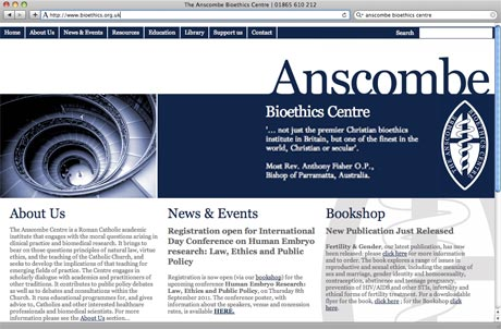 The Anscombe Bioethics Centre Website