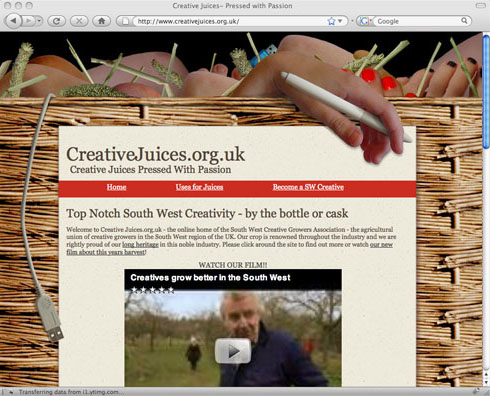 South WestRegional Development Agency 'Creative Juices' Website